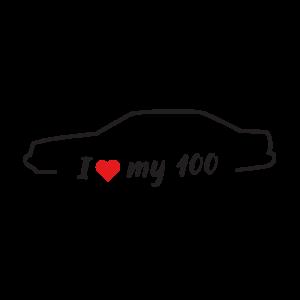 Стикер за кола - I love my Audi 100