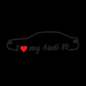 Стикер за кола - I Love my Audi 80
