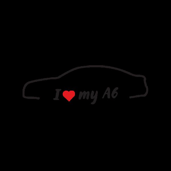 Стикер за кола - I love my Audi A6 C6