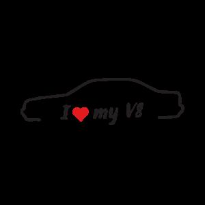 Стикер за кола - I love my Audi V8