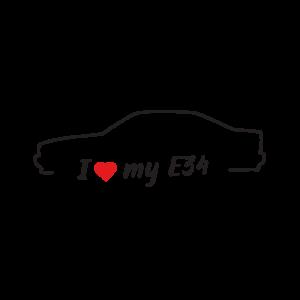 Стикер за кола - I love my BMW E34
