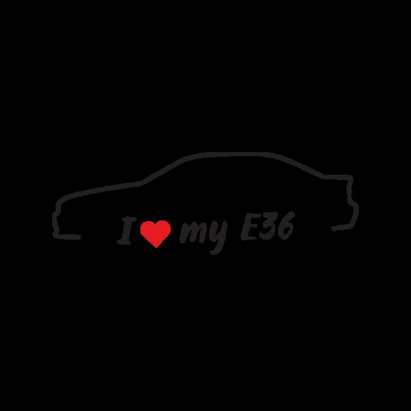 Стикер за кола - I love my BMW e36