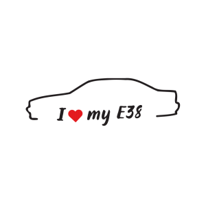 Стикер за кола - I love my BMW E38