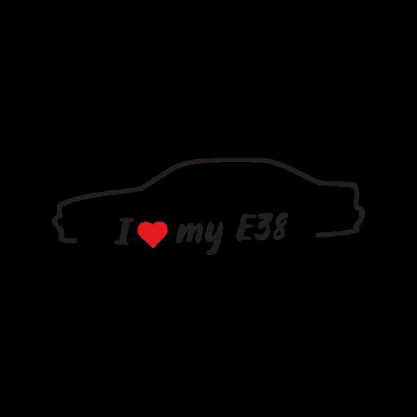 Стикер за кола - I love my BMW E38
