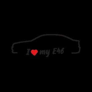Стикер за кола - I love my BMW E46