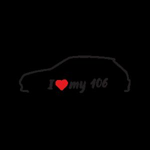 Стикер за кола - I love my Peugeot 106