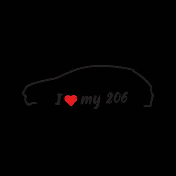 Стикер за кола - I love my Peugeot 206