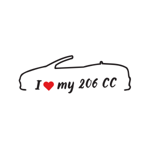 Стикер за кола - I love my Peugeot 206 CC