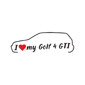 Стикер за кола - I love my vw Golf 4 GTI