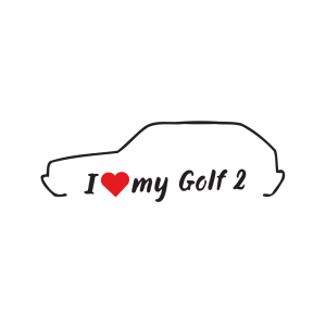 Стикер за кола - I love my VW Golf 2